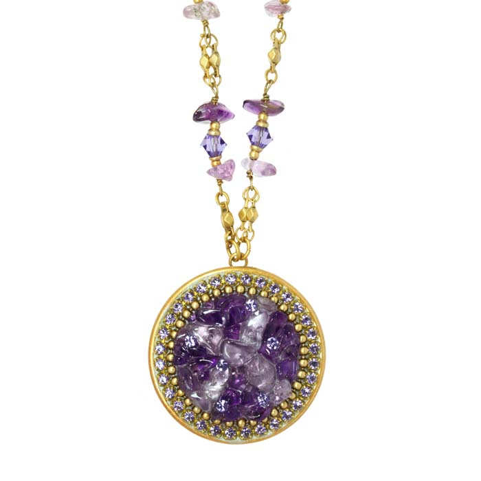 Violet Circle Necklace on Partially Beaded Chain
