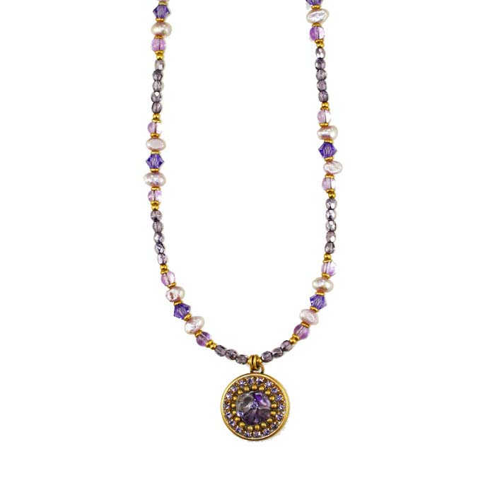 Violet Small Circle Beaded Necklace