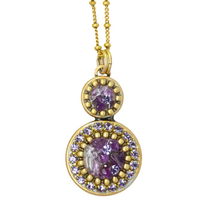 Amethyst Double Circle Necklace