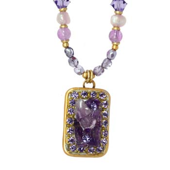 Violet Small Rectangle Necklace