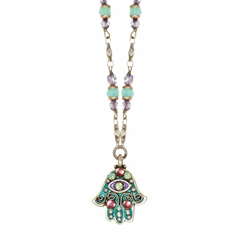 Aqua and Pink Small Hamsa Necklace