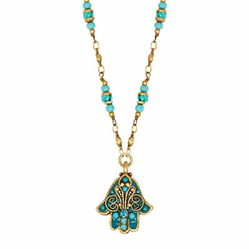 Turquoise and Gold Small Hamsa Necklace