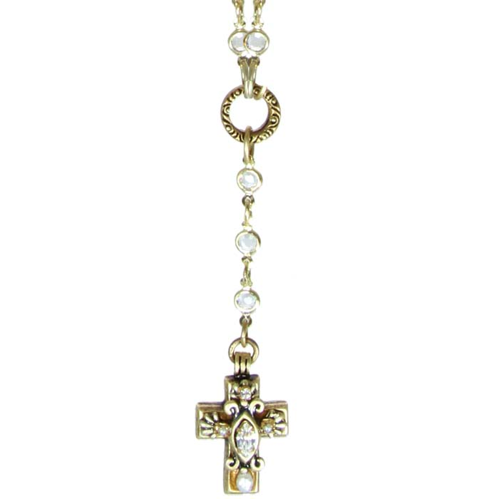Tiny Crystal Cross on Beaded Chain