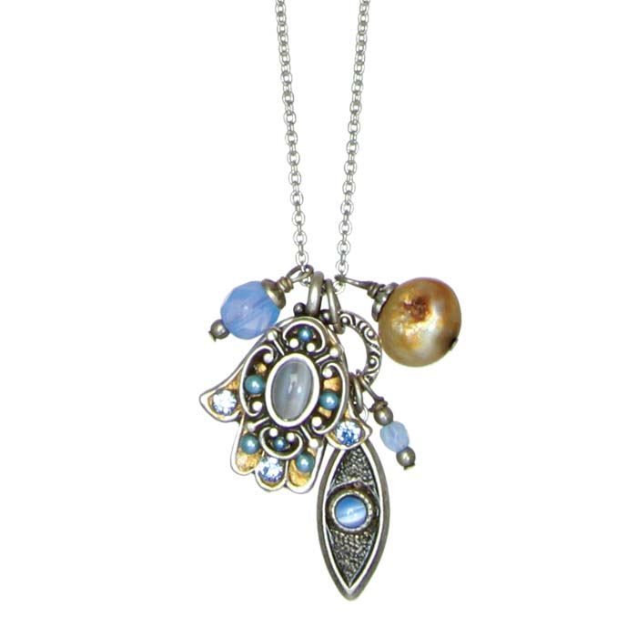 Sky Blue Hamsa Charm Necklace