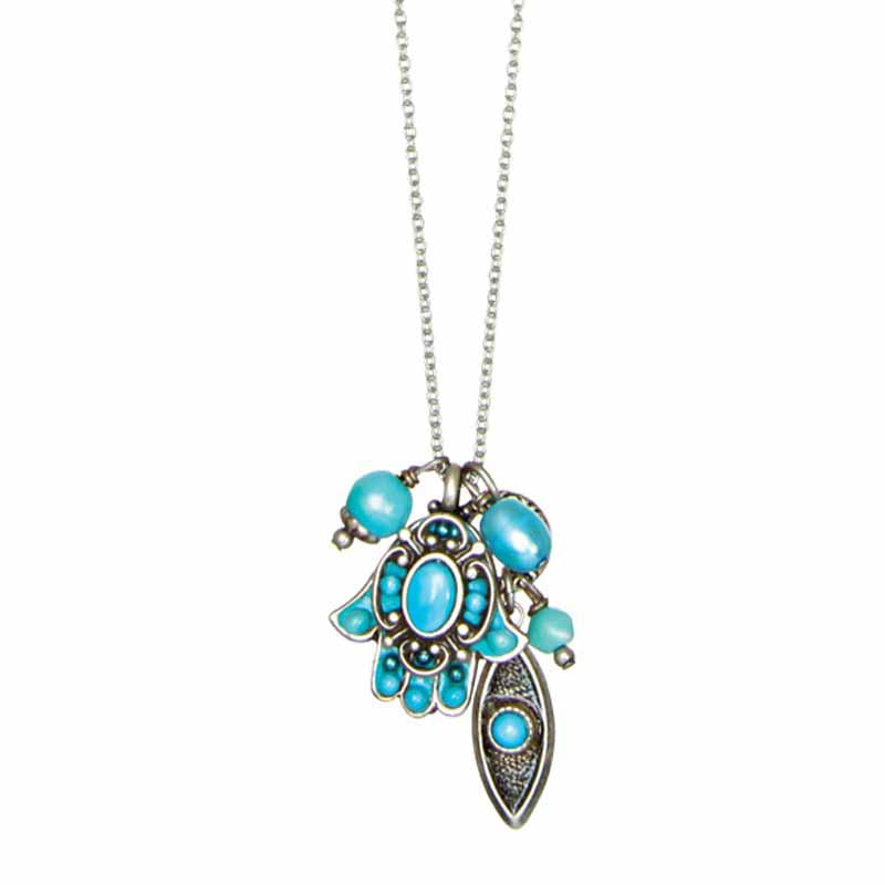 Aquamarine Hamsa Charm Necklace