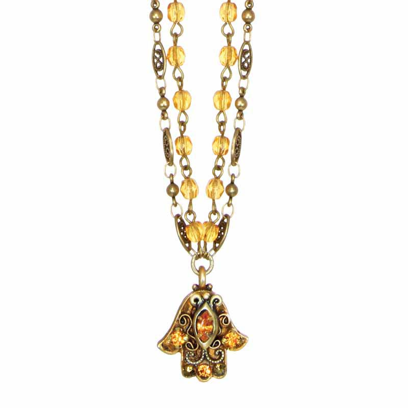 Topaz Crystal Hamsa Necklace