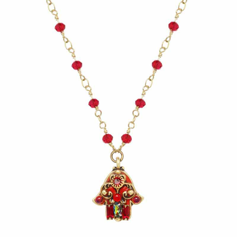 Small Red and Gold Hamsa Necklace on Crystal Chain