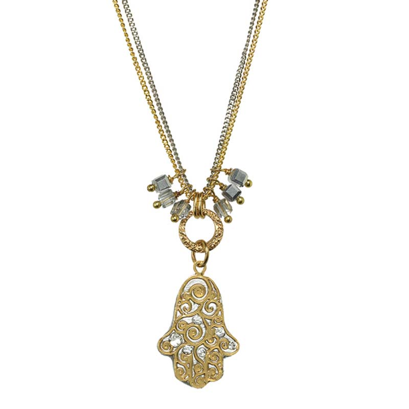 Gold and Silver Swirl Hamsa Necklace