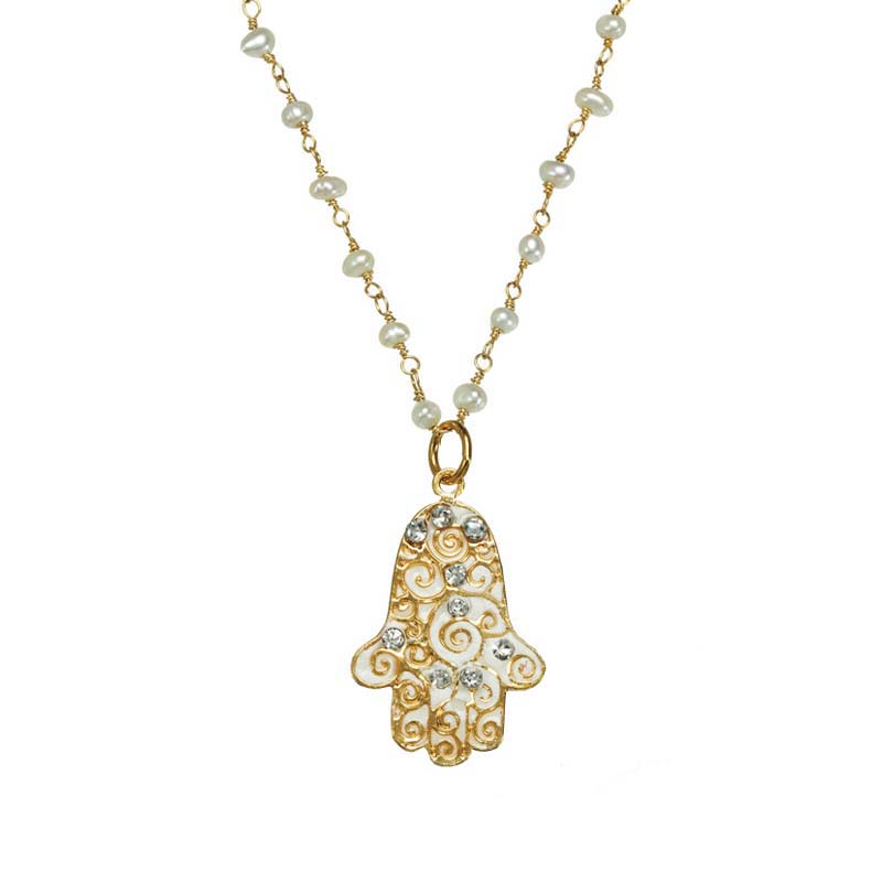 White and Crystal Swirl Hamsa Necklace