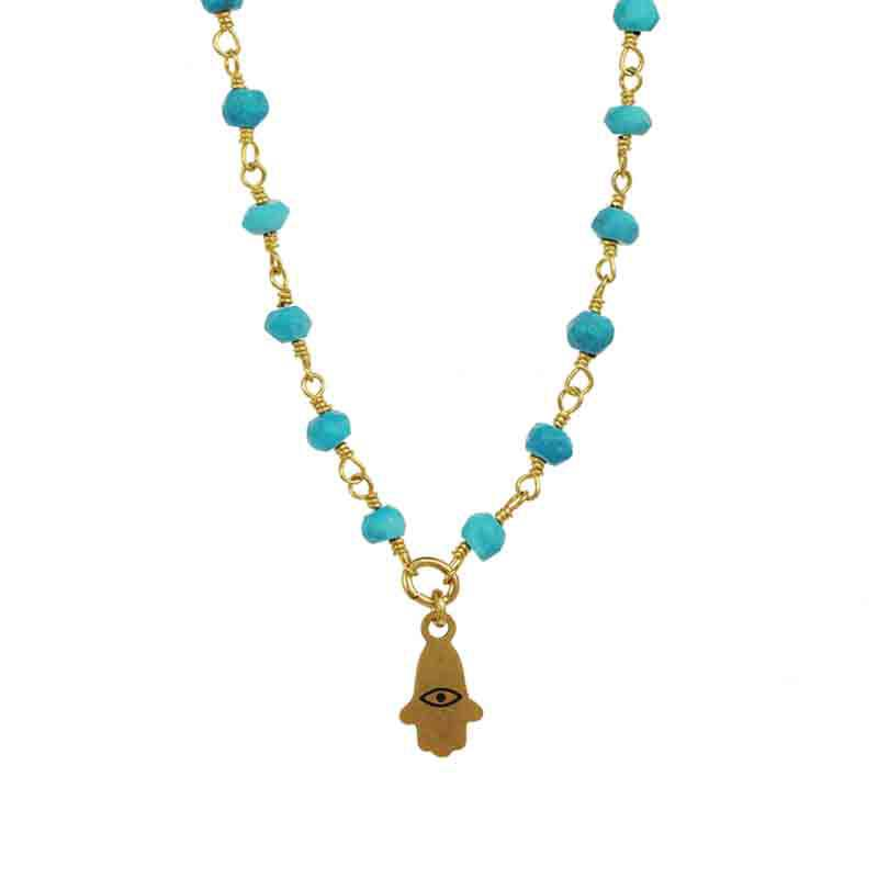 Tiny Turquoise Beaded Hamsa Necklace