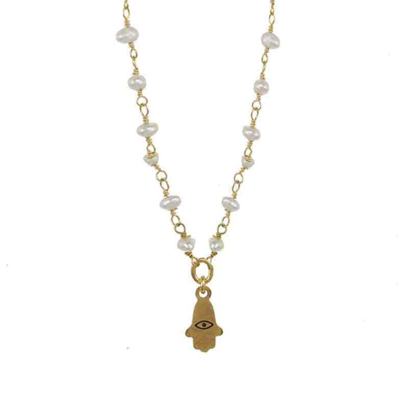 Tiny Gold Hamsa Necklace on Pearl Beaded Chain