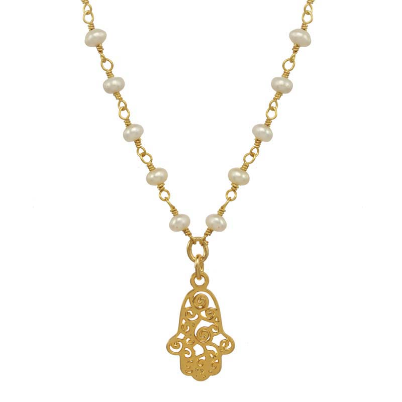 Tiny Filigree Pearl Swirl Hamsa Necklace