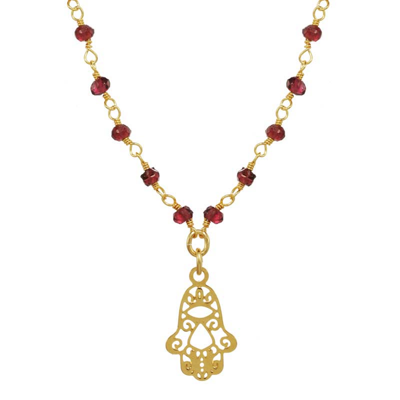 Tiny Filigree Hamsa on Garnet Chain