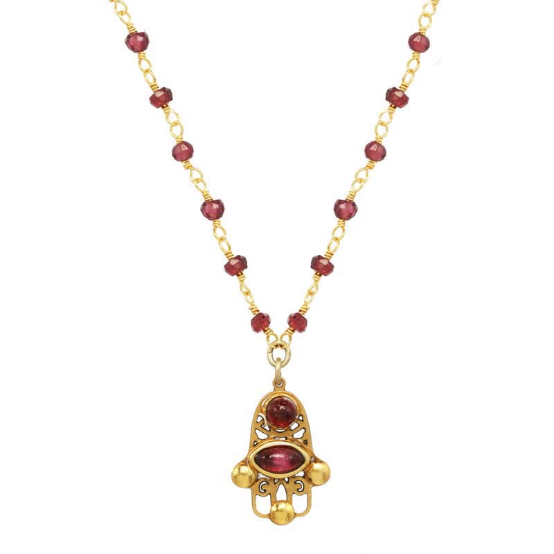 Tiny Filigree Garnet Hamsa Necklace