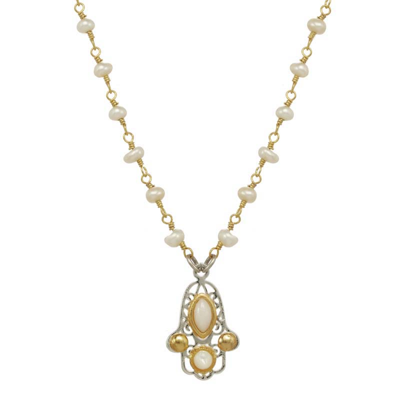 Tiny Filigree Pearl Hamsa Necklace