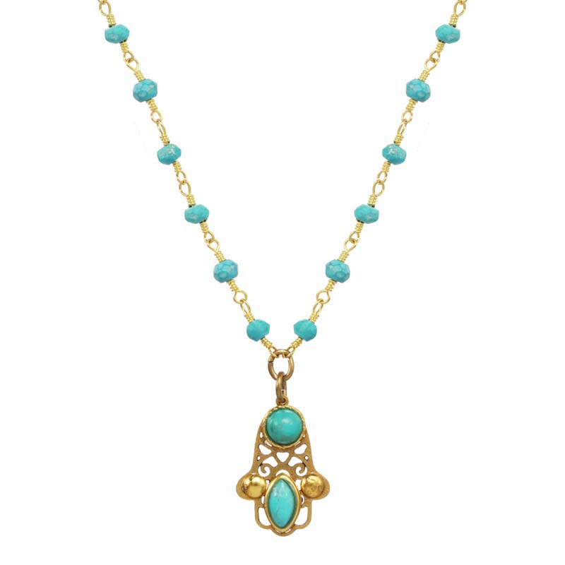 Tiny Filigree Aqua Hamsa Necklace
