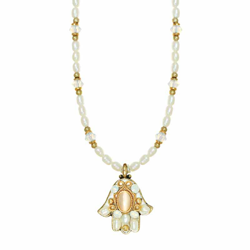 Mother of Pearl Small Beaded Hamsa Necklace