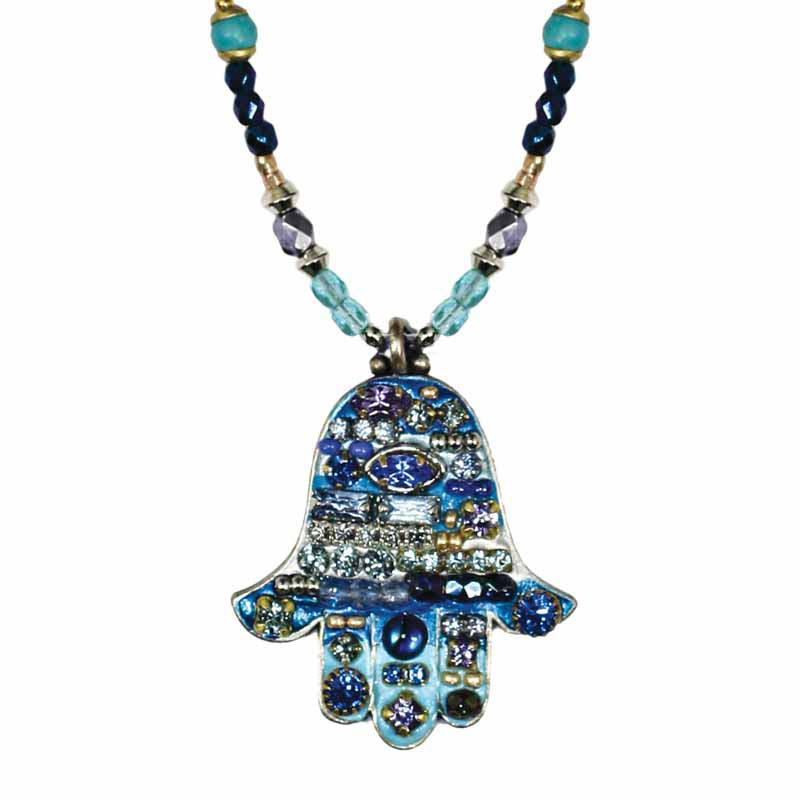 Blue Mosaic Medium Hamsa Necklace