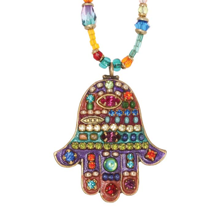 Multibright Medium Beaded Hamsa Necklace