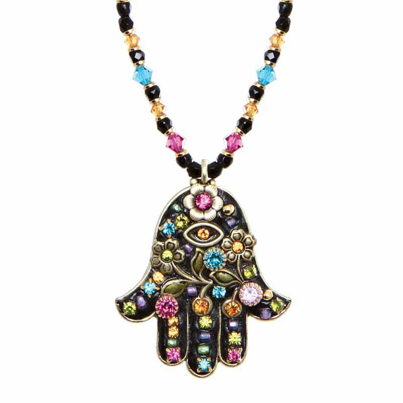 Black Flower Hamsa Necklace