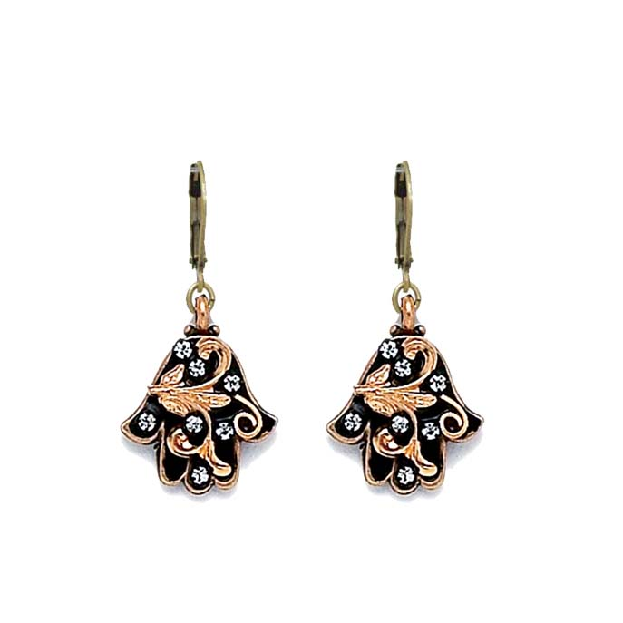 Black and Gold Leaves Hamsa Earrings