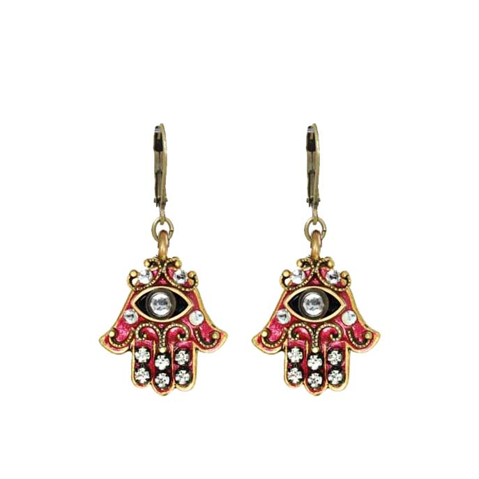 Pink and Gold Crystal Hamsa Earrings