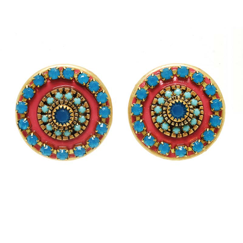 Red and Blue Swirl Earrings