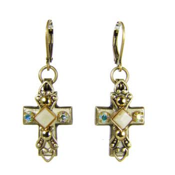 Beige Cross Earrings
