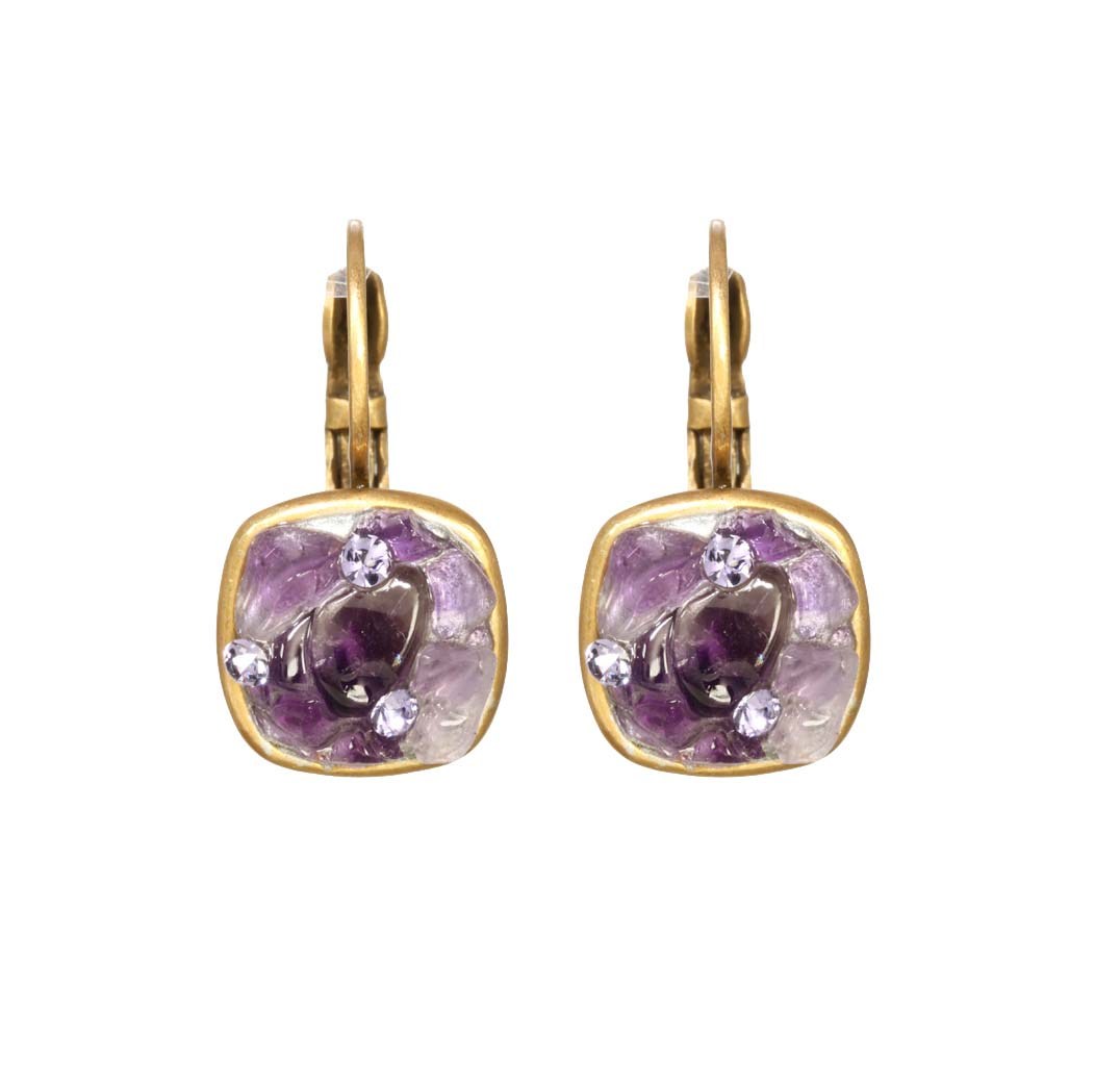 Violet Small Square Earrings