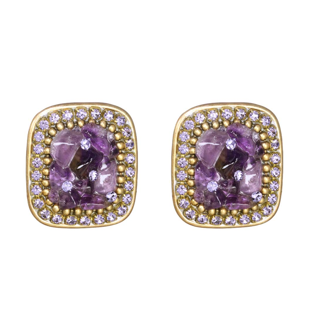 Violet Large Square Post Earrings