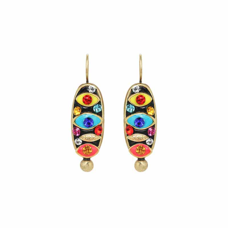 Multicolor Eye Oval Earrings