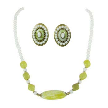Lime Green Clip Earring and Necklace Set