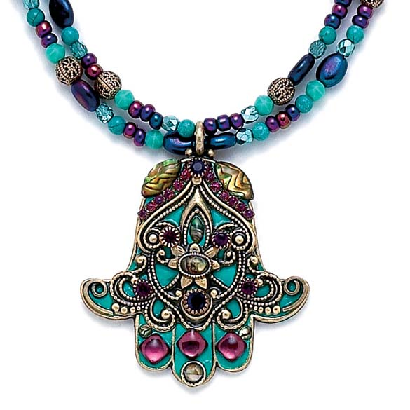 Large Turquoise and Purple Hamsa Necklace