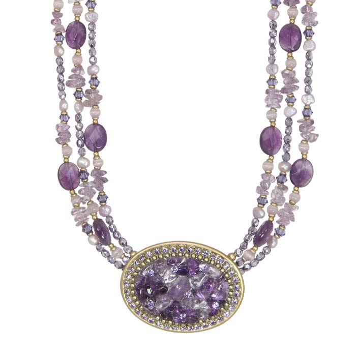 Violet Beaded Oval Necklace