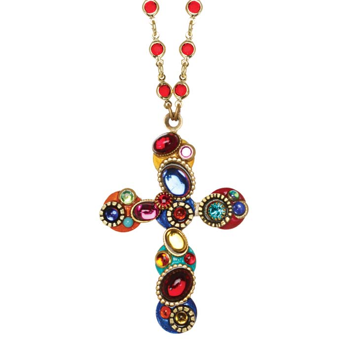 Confetti Cross Necklace