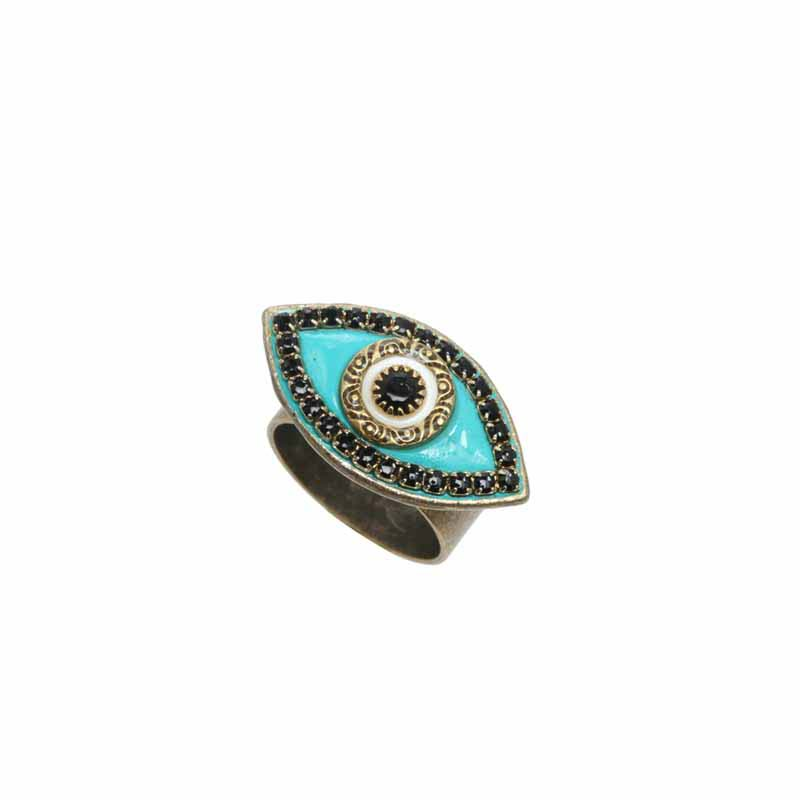 Turquoise and Black Evil Eye Ring
