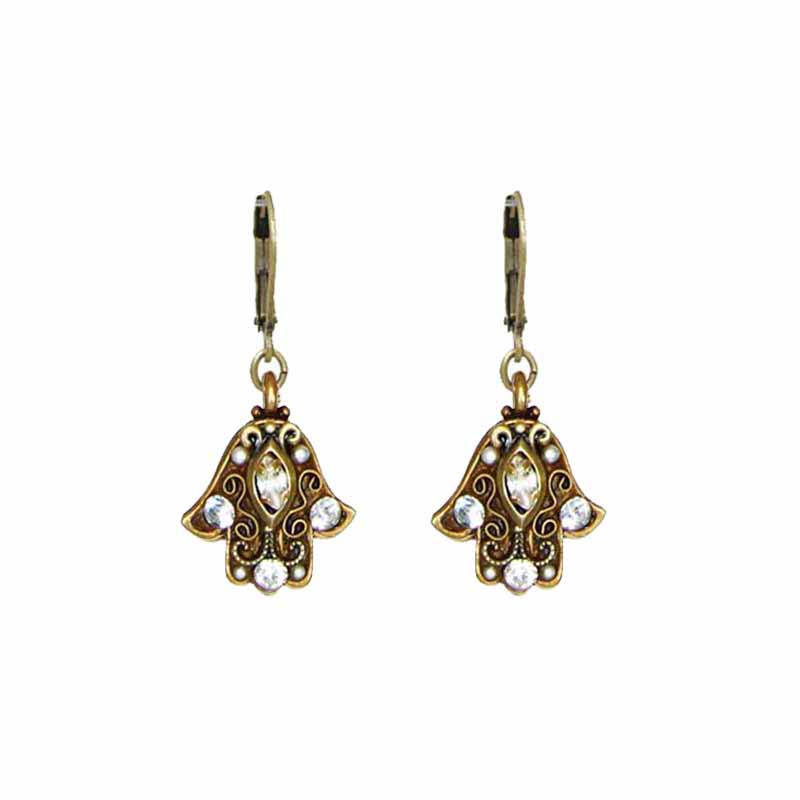 Small crystal hamsa earrings