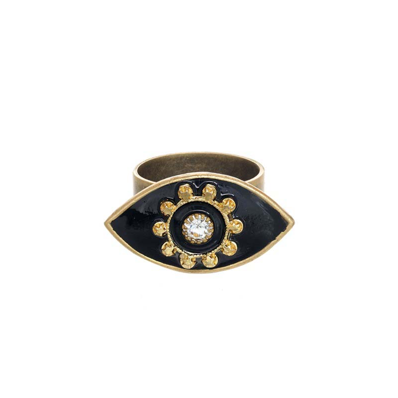 Black Minimal Evil Eye Ring