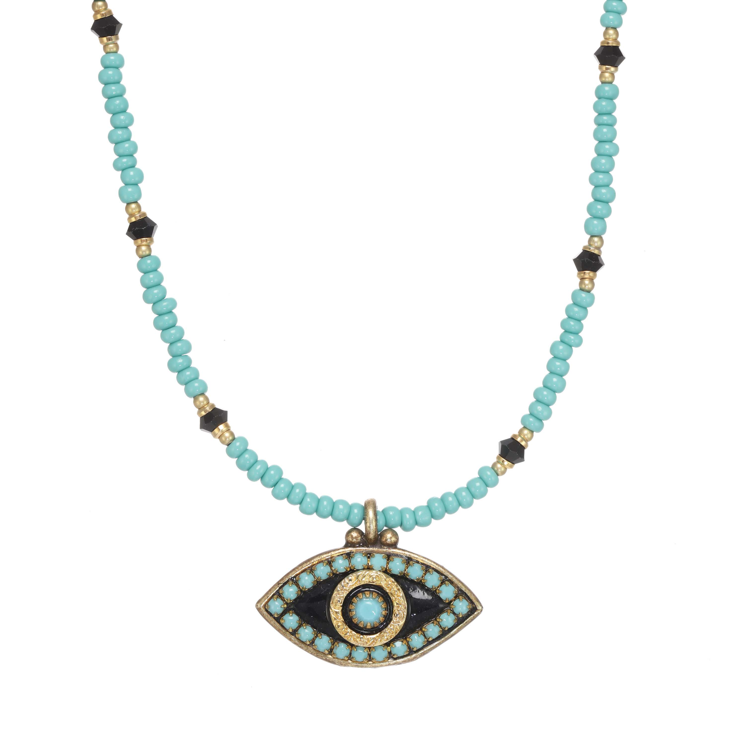 Turquoise and Black Evil Eye Necklace