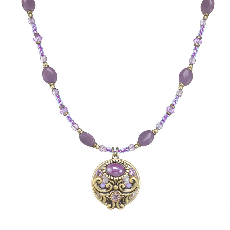 Lilac Small Round Pendant Necklace