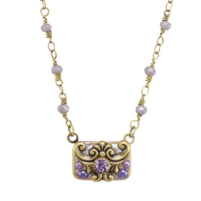 Lilac Rectangle Necklace