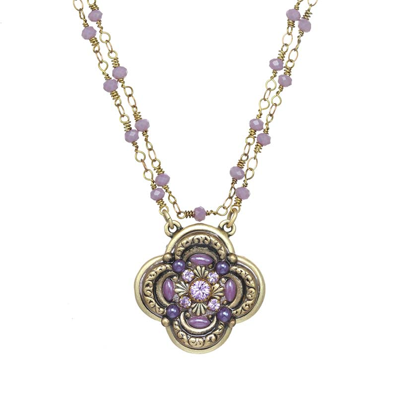 Lilac Flower Pendant Necklace