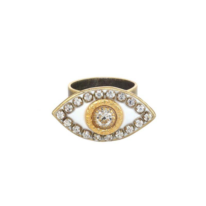 White and Gold Evil Eye Ring