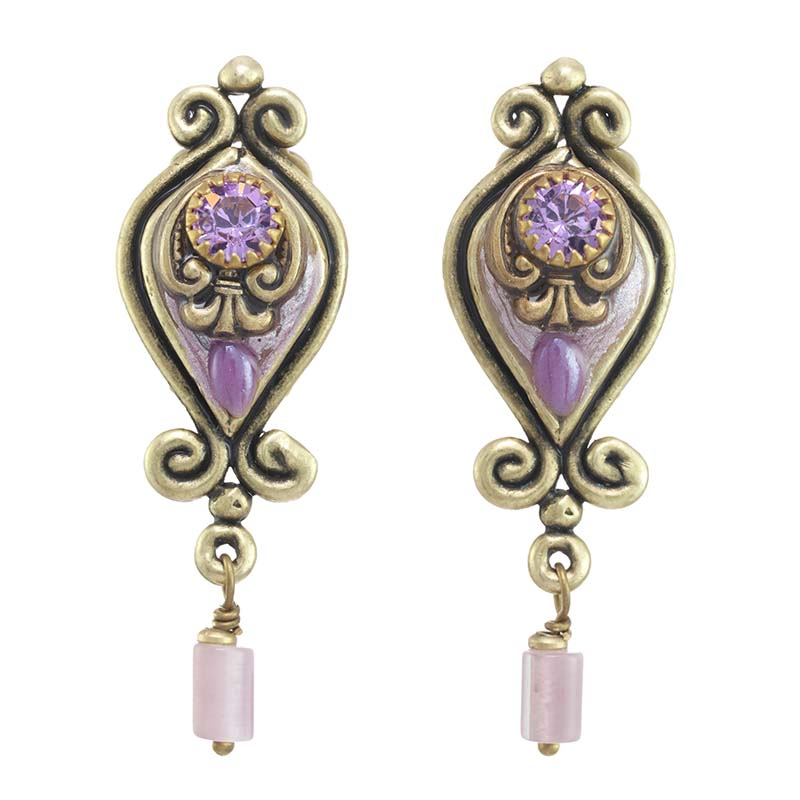 Lilac Shield Earrings