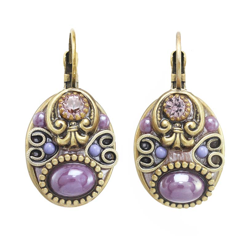 Lilac Oval Earrings