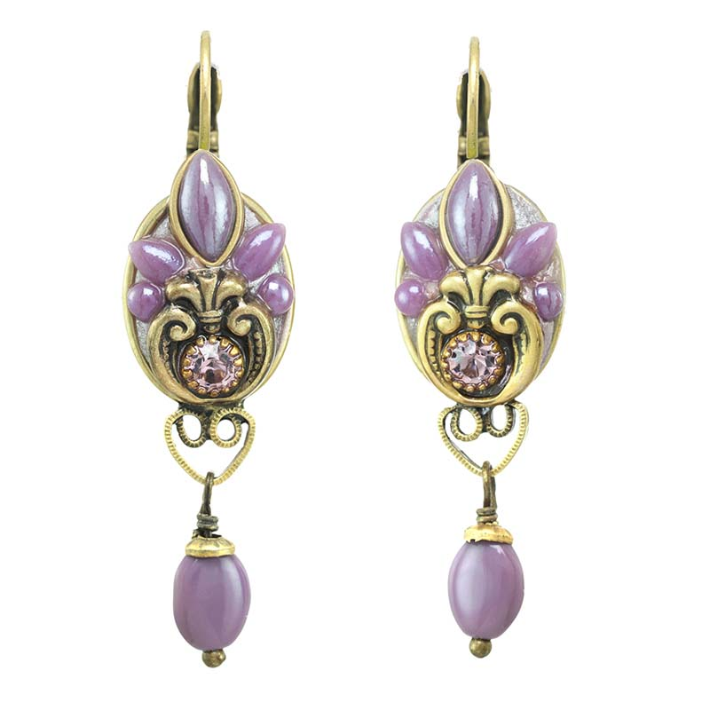 Lilac Oval Dangling Earrings