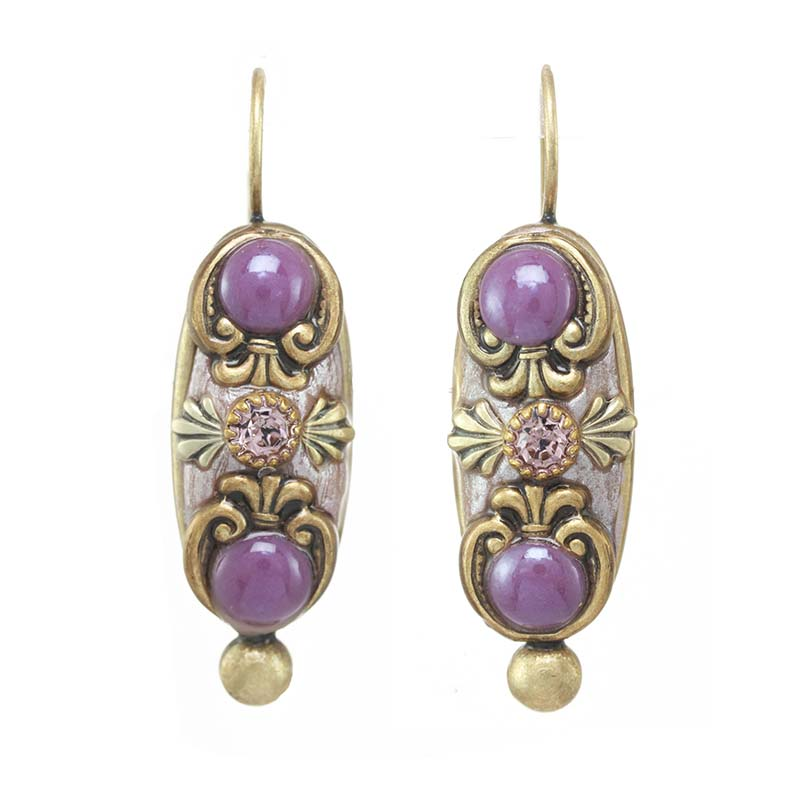 Lilac Long Oval Earrings