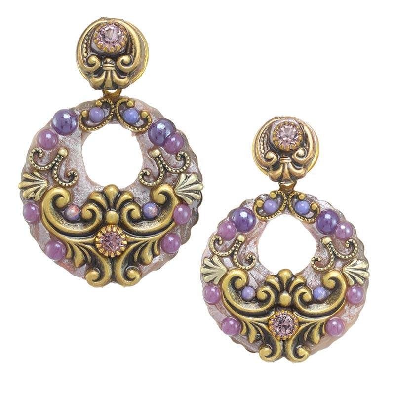Lilac Open Circle Earrings