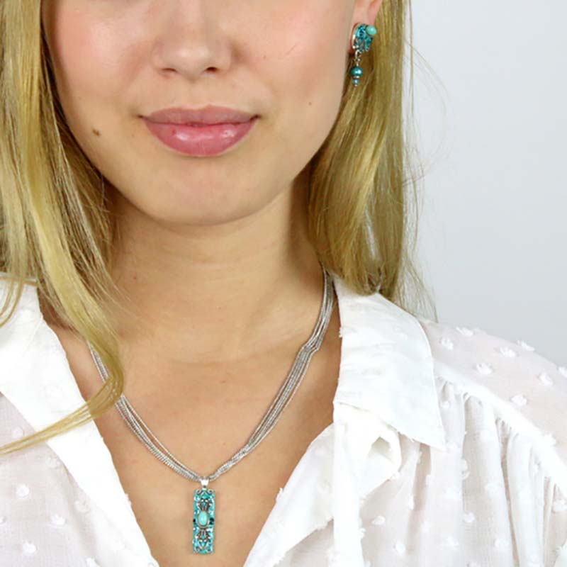 Aqua Glass Necklace and Earring Set