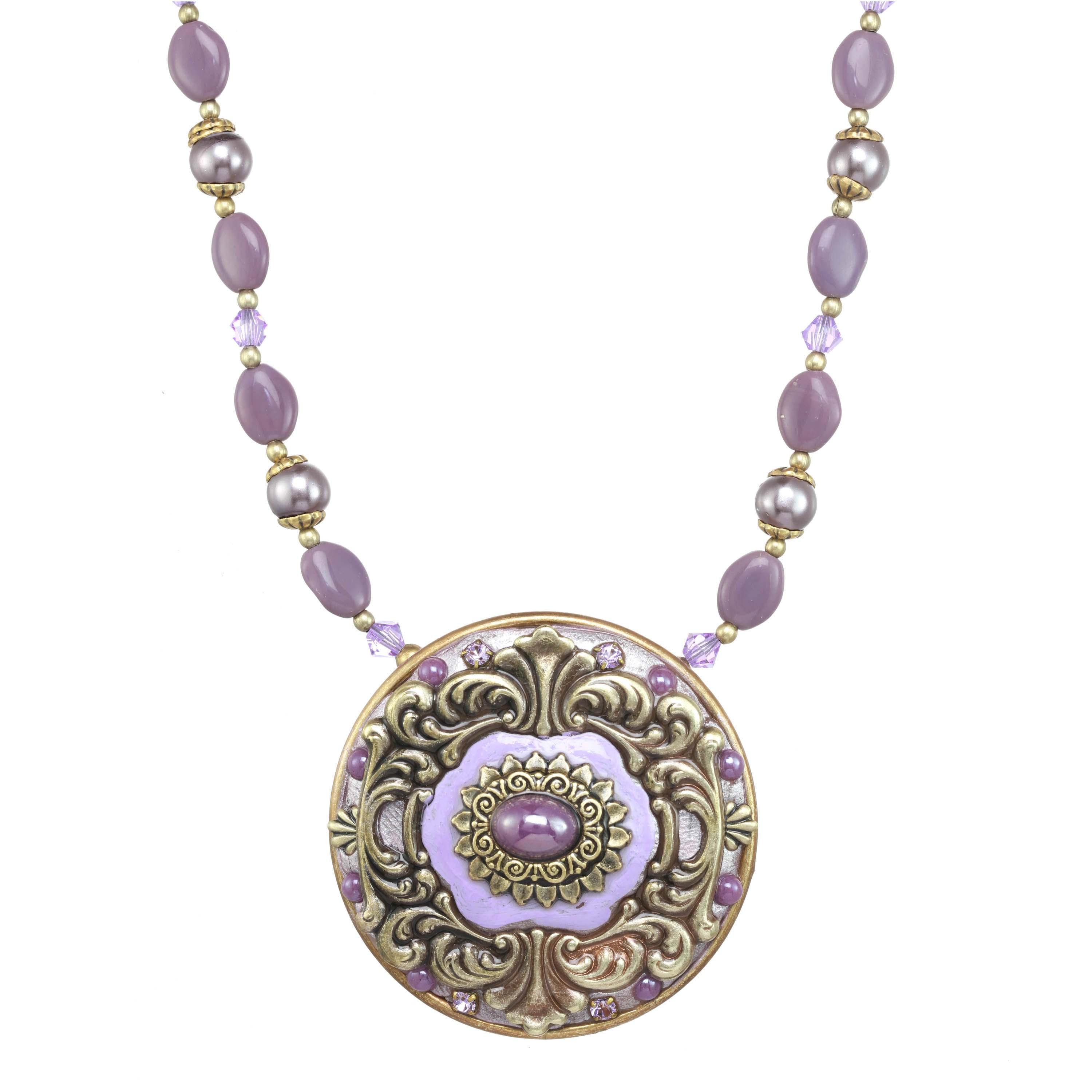 Lilac Round Pendant Necklace